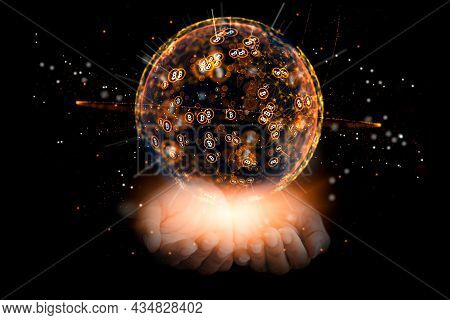 Women Hands With A 3D Render The World Full Of Cryptocurrencies By The Name Bitcoin. Idea Of Earning