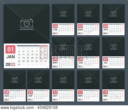 2022 Calendar Template, Week Starts On Monday, A3 Size, Place For Your Photo, Vector Eps10 Illustrat