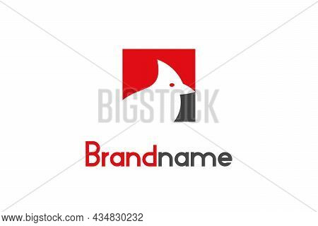 Abstract Cardinal Bird Logo On Negative Space With Square Shape Design Concept. Modern Logo With Sim