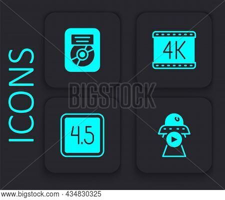 Set Science Fiction, Cd Disk Award In Frame, 4k Movie And Rating Icon. Black Square Button. Vector