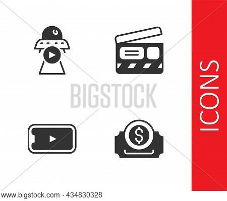 Set Cinema Ticket, Science Fiction, Online Play Video And Movie Clapper Icon. Vector