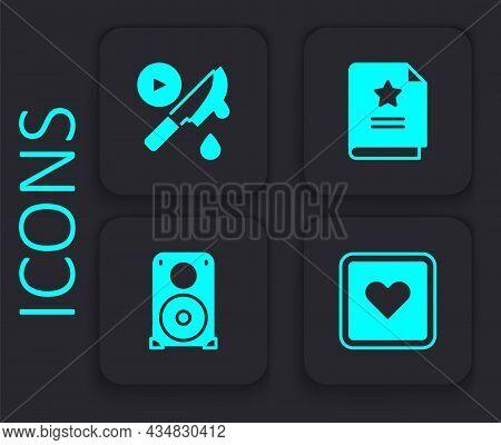Set Like Heart, Thriller Movie, Scenario And Stereo Speaker Icon. Black Square Button. Vector