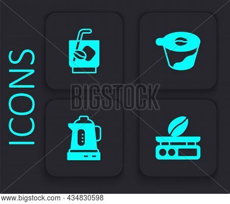 Set Electronic Coffee Scales, Espresso Tonic, Pour Over Maker And Electric Kettle Icon. Black Square