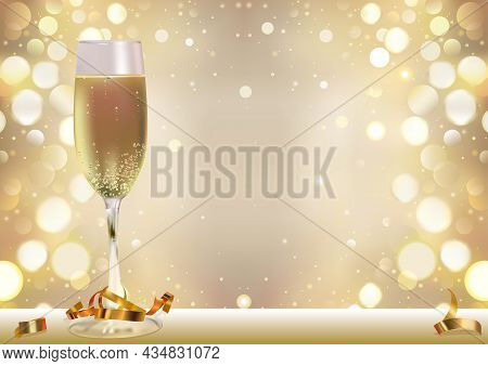 Golden Bokeh Background With Champagne Glass And Golden Confetti - Happy New Year Or Holiday Or Fest