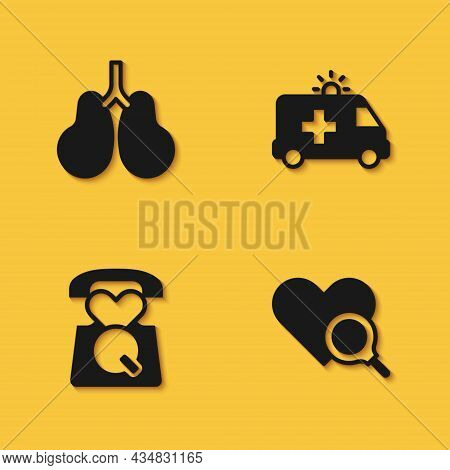 Set Lungs, Medical Heart Inspection, Emergency Call 911 And Ambulance Car Icon With Long Shadow. Vec