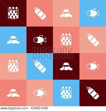 Set Pop Art Fishing Net Pattern, Aqualung, Fisherman Hat And Icon. Vector