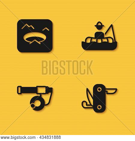 Set Winter Fishing, Swiss Army Knife, Fishing Rod And Fisherman Boat Icon With Long Shadow. Vector