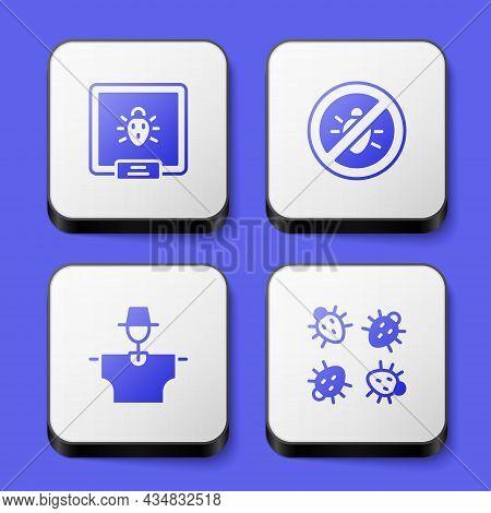 Set Colorado Beetle, Stop Colorado, Scarecrow And Icon. White Square Button. Vector