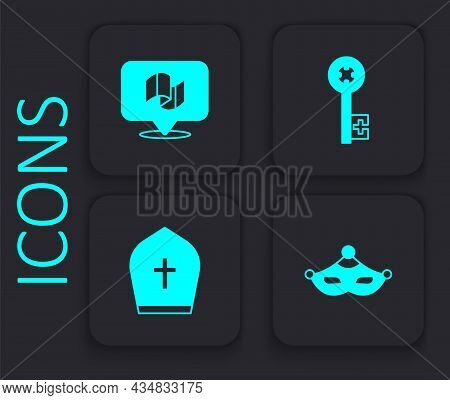Set Carnival Mask, Flag Italy, Old Key And Pope Hat Icon. Black Square Button. Vector