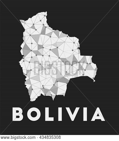 Bolivia - Communication Network Map Of Country. Bolivia Trendy Geometric Design On Dark Background.