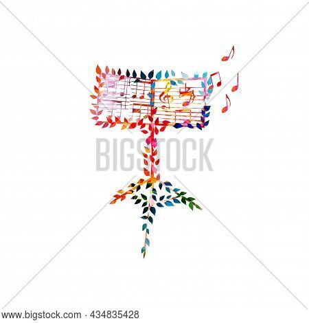 Music Sheets On Orchestra Music Stand Isolated, Colorful Vector Illustration. Music Performance, Con