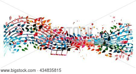 Colorful Musical Promotional Poster With Musical Notes And Leaves Isolated Vector Illustration. Arti
