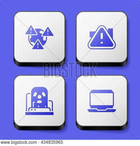 Set Earth With Exclamation Mark, Exclamation In Triangle, Radioactive Warning Lamp And Laptop Icon.