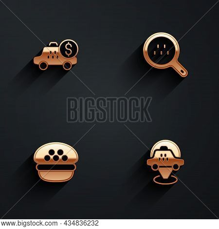 Set Taximeter Device, Search Taxi, Driver Cap And Location Car Icon With Long Shadow. Vector