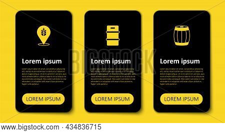 Set Wooden Barrel, Metal Beer Keg And Wheat. Business Infographic Template. Vector