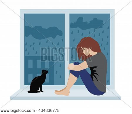 Woman With Depressive Thinking. Cartoon Unhappy Girl Sitting On The Windowsill. Concept Of Anxious F