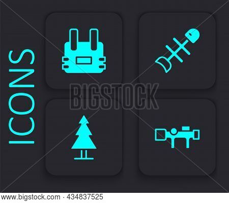 Set Sniper Optical Sight, Bulletproof Vest, Dead Fish And Tree Icon. Black Square Button. Vector
