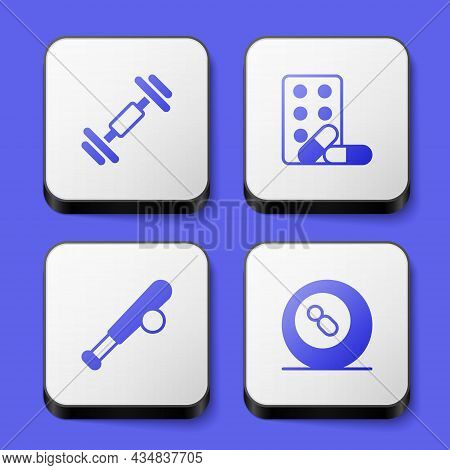 Set Dumbbell, Sports Doping With Dumbbell, Baseball Bat Ball And Billiard Pool Snooker Icon. White S