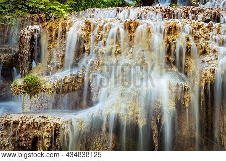 Krushuna Waterfalls Water Terraces And Pools, The Biggest Travertine Cascade In Bulgaria