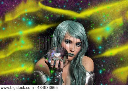 Psychic With Blue Hair And Crystal Ball