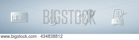 Set Music Synthesizer, Guitar, Maracas And Metronome With Pendulum. Paper Art Style. Vector