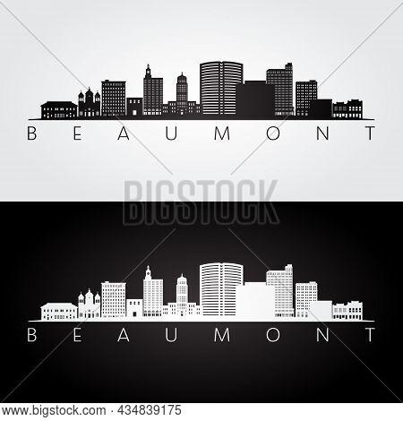 Beaumont Tx Skyline And Landmarks Silhouette, Black And White Design, Vector Illustration.
