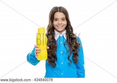 Happy Kid Give Yellow Plastic Bottle With Beverage Product Isolated On White, Drinkables