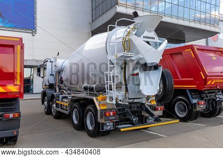 The Liebherr Htm 1004 Concrete Mixer Truck Based On The Mercedes-benz Arocs Chassis, Rear View. The