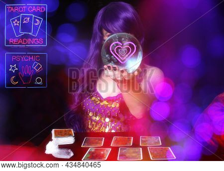 Psychic Tarot Card Reader With Vintage Neon Signs