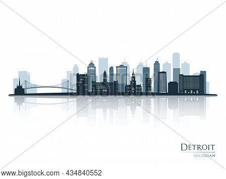 Detroit Skyline Silhouette With Reflection. Landscape Detroit, Michigan. Vector Illustration.