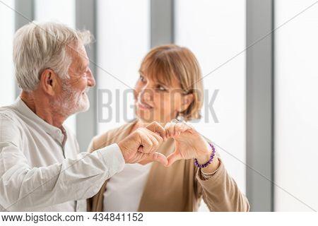 Joyful Nice Elderly Couple Showing Heart Shape Of Hands, Portrait Of Happy Seniors Couple Show Hand