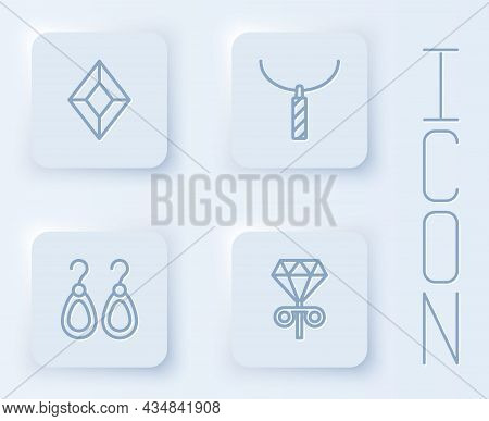 Set Line Gem Stone, Pendant Necklace, Earrings And Stud Earrings. White Square Button. Vector