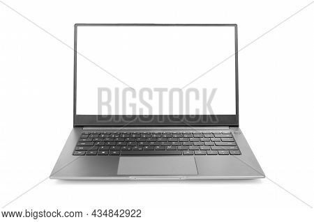 Laptop Mockup With White Screen Isolated On White Background. Modern Laptop Isolated. Silver Laptop