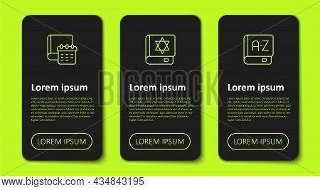 Set Line Daily Paper Notepad, Jewish Torah Book And Translator. Business Infographic Template. Vecto