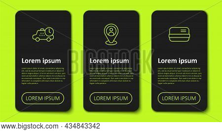 Set Line Taxi Waiting Time, Client And Credit Card. Business Infographic Template. Vector