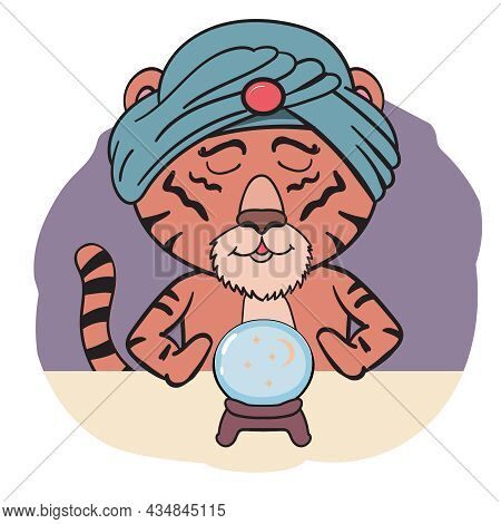 Indian Tiger In Turban Predicts The Future By Ball Vector Clip Art Illustration