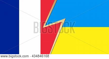Flag Of France And Ukraine Flag. Squared Pattern, Template Icon. Two Vector Flags French And Ukraini