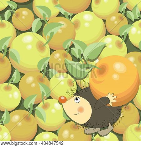 Ripe Apples. Funny Hedgehog. Sweet Vector Fruits With Cartoon Character. Apple Pattern, Background.