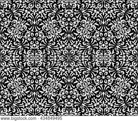 Luxurious Design With Filigree Pattern Seamless Vector Template.black And White. Decorative Texture.