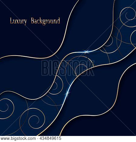 Abstract Blue Background With Decor.gold Color Decor On A Blue Background With Text In Vector Illust