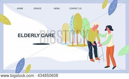 Elderly People Care Website Banner With Caregiver, Nurse Or Volunteer Helping An Elderly Person Reco
