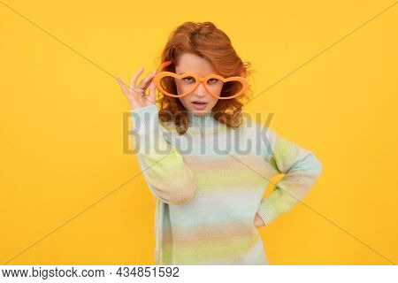 Let Me See. Girl Wear Glasses. Birthday Party Celebration. Express Positivity. Positive Emotions.