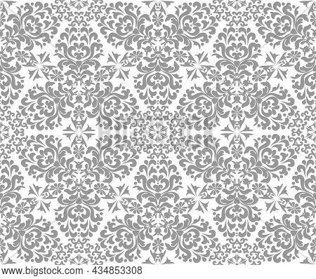 Silver Stylish Damask Seamless Vector Pattern. Silver, Gray And White Color. For Fabric, Wallpaper,