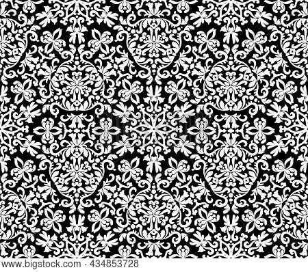 Excellent Oriental Ornament Seamless Pattern. Black And White. Decorative Texture. Mehndi Patterns.