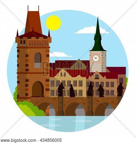 King Charles Bridge. Medieval Landmark Of Prague With Statues.
