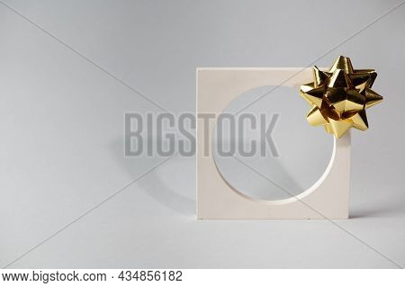 Christmas Mock Up With White Podium On Grey Background With Christmas Decor. Place For Christmas Pro