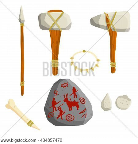 Items Of Stone-age Man. Caveman Weapons For Hunting And Life. Axe, Hammer, Spear, Bone. Prehistoric