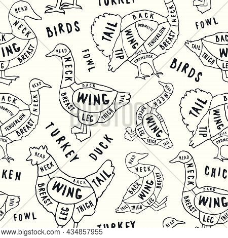Seamless Pattern In The Style Of Handmade Graphics For Poultry Shop And Butchery. Chicken, Goose, Du
