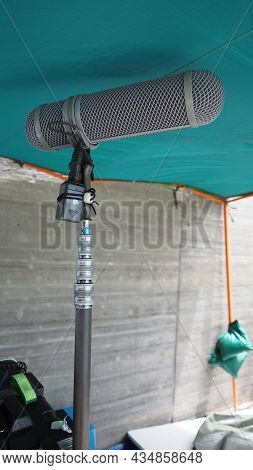 Microphone Boom Type. Sound Recorder Boom Mic And Tripod Stand.