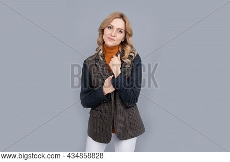 Every Woman Is Beautiful. Pretty Woman With Fashion Look. Fashion Model Grey Background